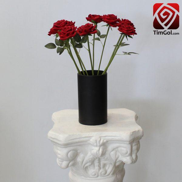 گلدان گل رز مصنوعی قرمز