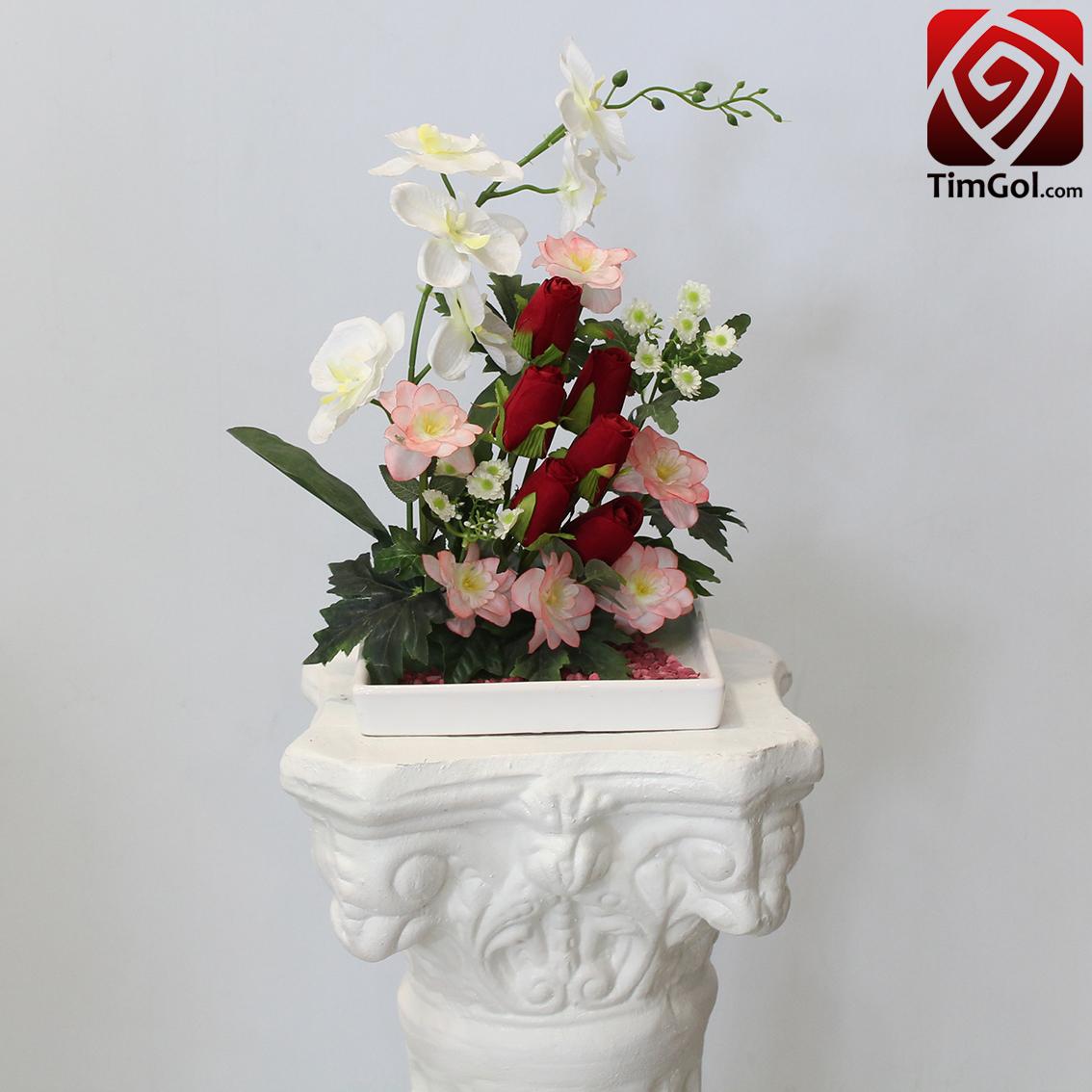 گل مصنوعی غنچه رز و شبو مصنوعی